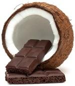 Kokosnuss und dunkle Schokoladenplatte