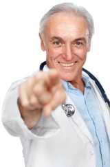 Doktor zeigt mit dem Finger