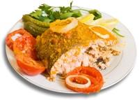 Fischmehl auf einem Teller