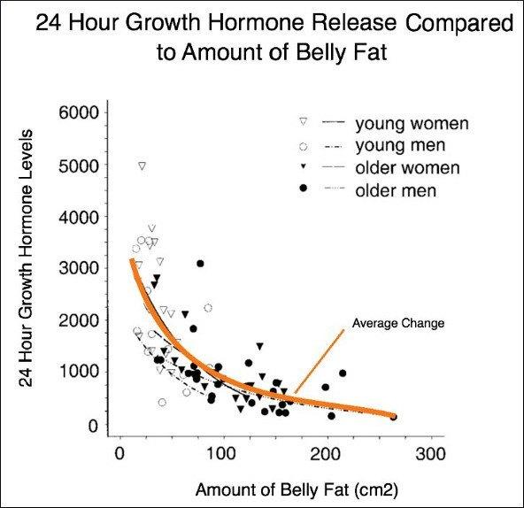 Wachstumshormonfreisetzung im Vergleich zu Körperfett