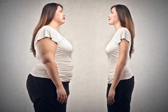 Übergewichtige gegen dünne Frau