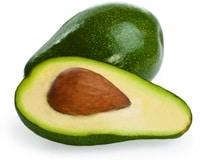 Eineinhalb grüne Avocado