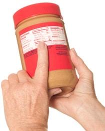 Erdnussbutter Zutaten Etikett