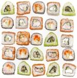 Stücke von Sushi, die ein Quadrat bilden
