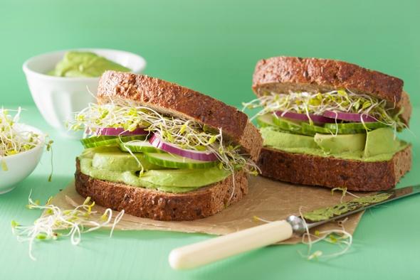 Sandwiches mit Avocado- und Alfalfasprossen