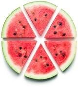 Sechs Wassermelonenscheiben